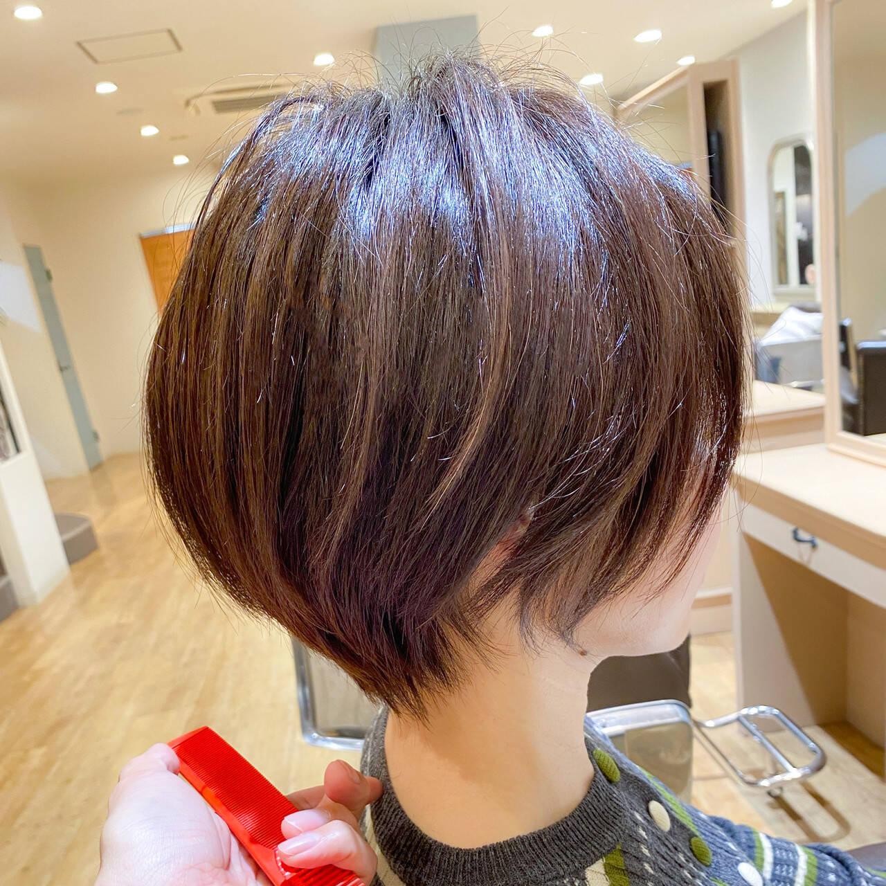 ショートボブ ナチュラル ショート 小顔ショートヘアスタイルや髪型の写真・画像