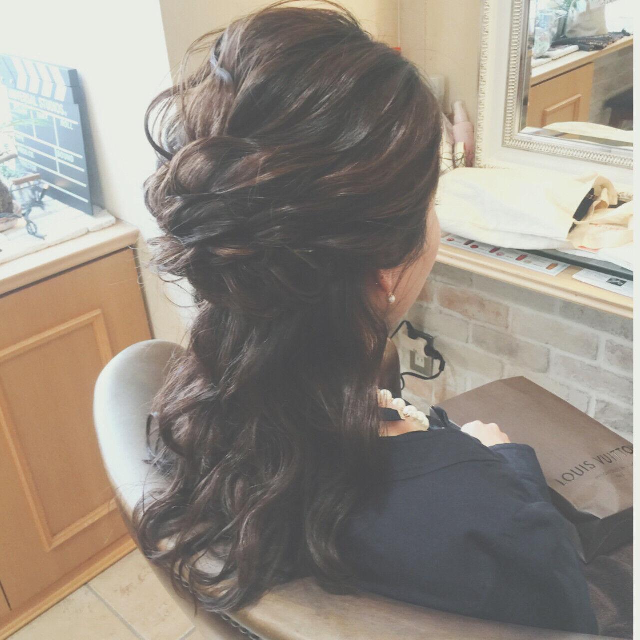 ロング ゆるふわ 編み込み ハーフアップヘアスタイルや髪型の写真・画像
