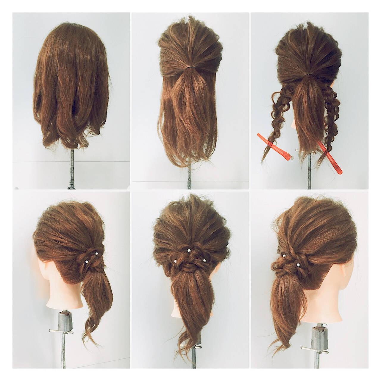 ミディアム 簡単ヘアアレンジ ねじり ヘアアレンジヘアスタイルや髪型の写真・画像