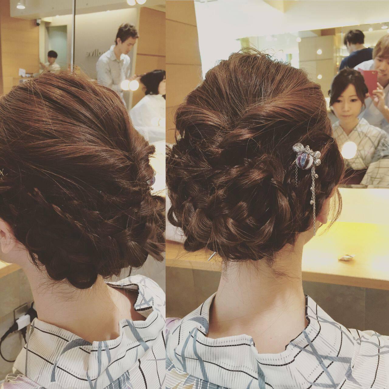 和装 編み込み ヘアアレンジ ミディアムヘアスタイルや髪型の写真・画像