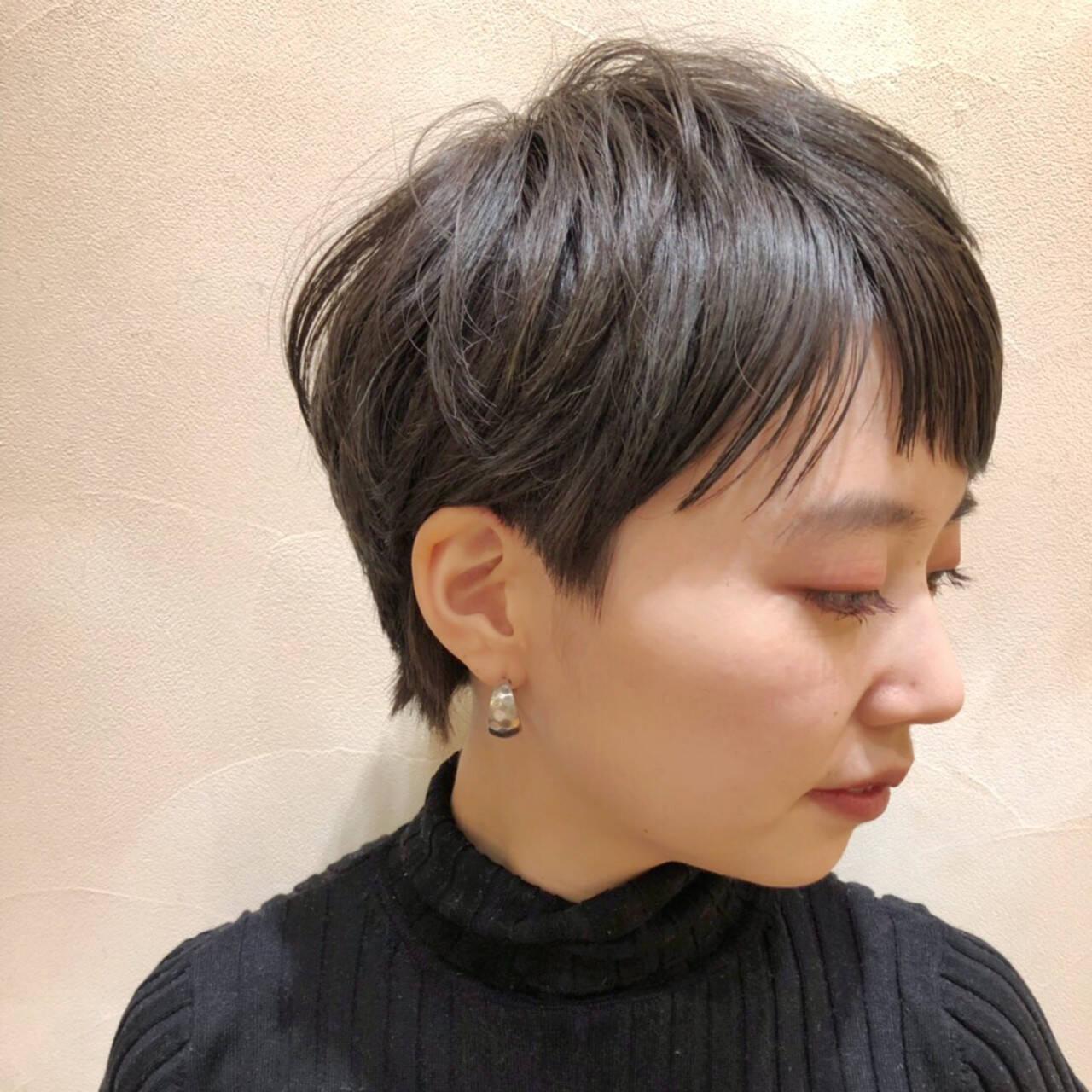 黒髪 ナチュラル ベリーショート ショートヘアスタイルや髪型の写真・画像