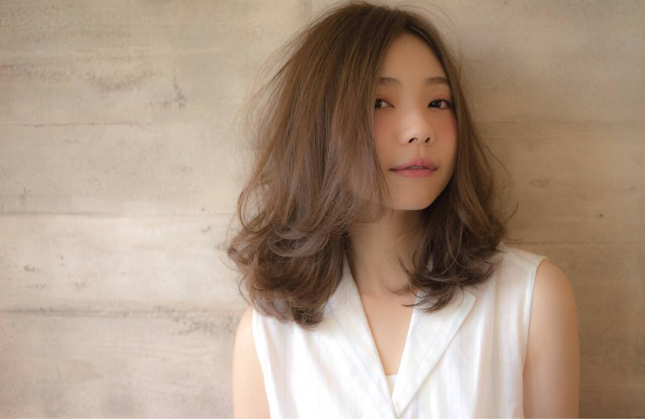 ガーリー フェミニン 外国人風 ミディアムヘアスタイルや髪型の写真・画像