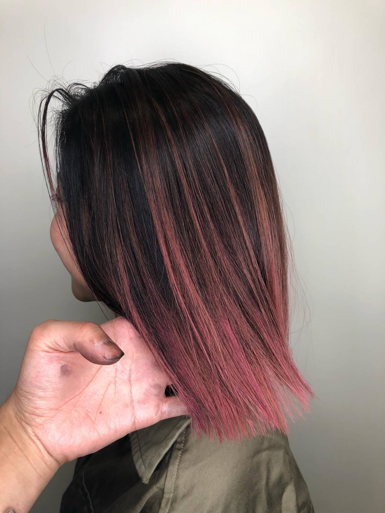 ストリート ピンク ボブ グラデーションカラーヘアスタイルや髪型の写真・画像