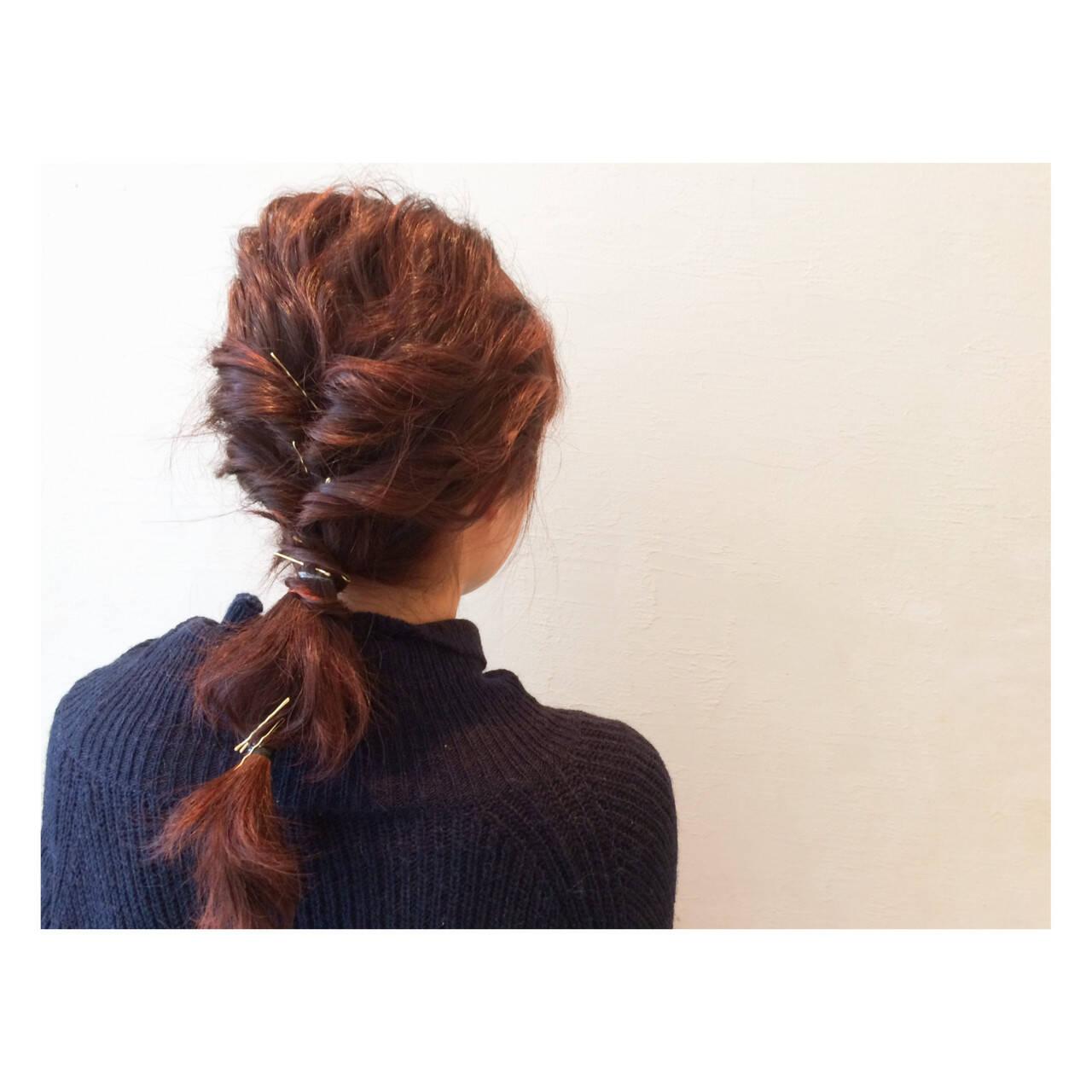 ヘアアレンジ 簡単ヘアアレンジ ショート グラデーションカラーヘアスタイルや髪型の写真・画像