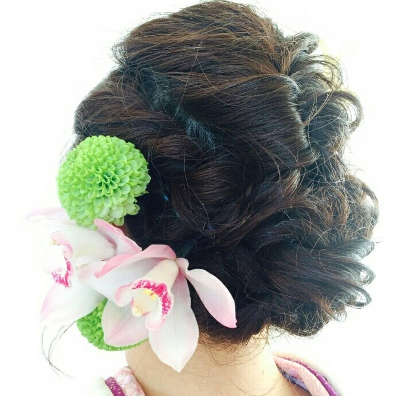 ヘアアレンジ 編み込み セミロング ゆるふわヘアスタイルや髪型の写真・画像