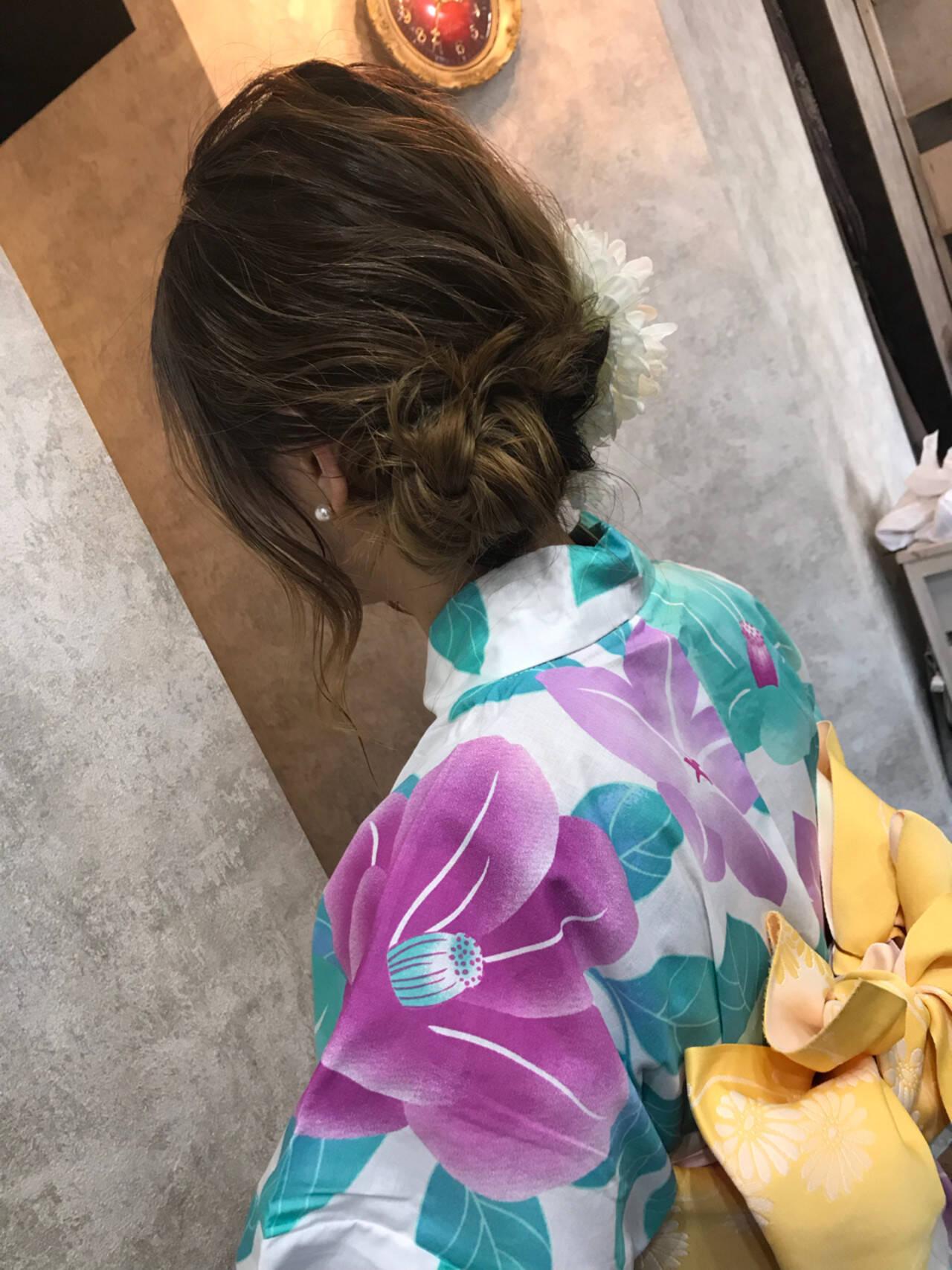 和装 ナチュラル ロング アップスタイルヘアスタイルや髪型の写真・画像