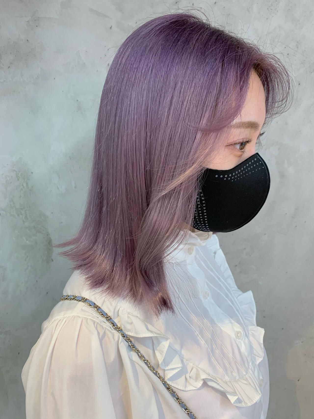 ラベンダー ラベンダーピンク ガーリー ミディアムヘアスタイルや髪型の写真・画像