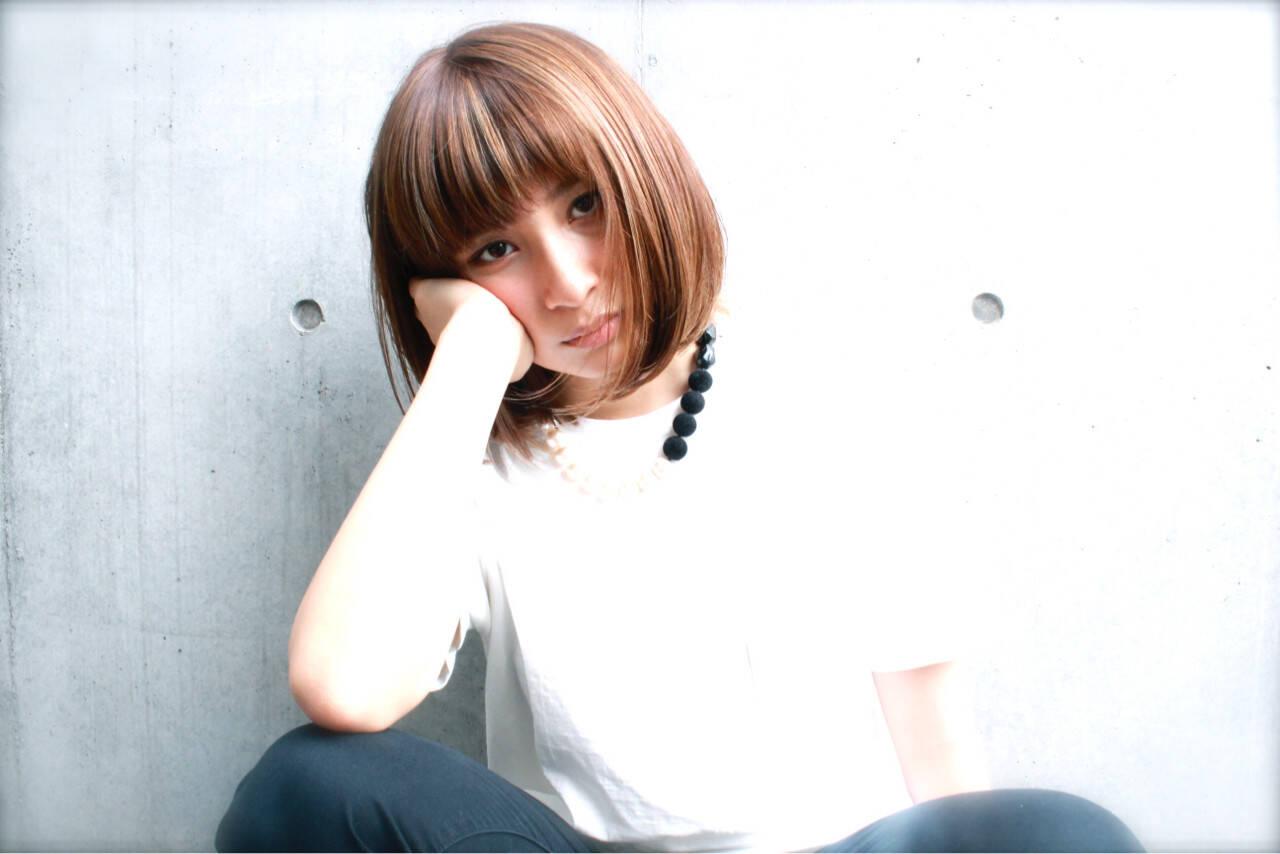 黒髪 ボブ 外国人風 ワイドバングヘアスタイルや髪型の写真・画像