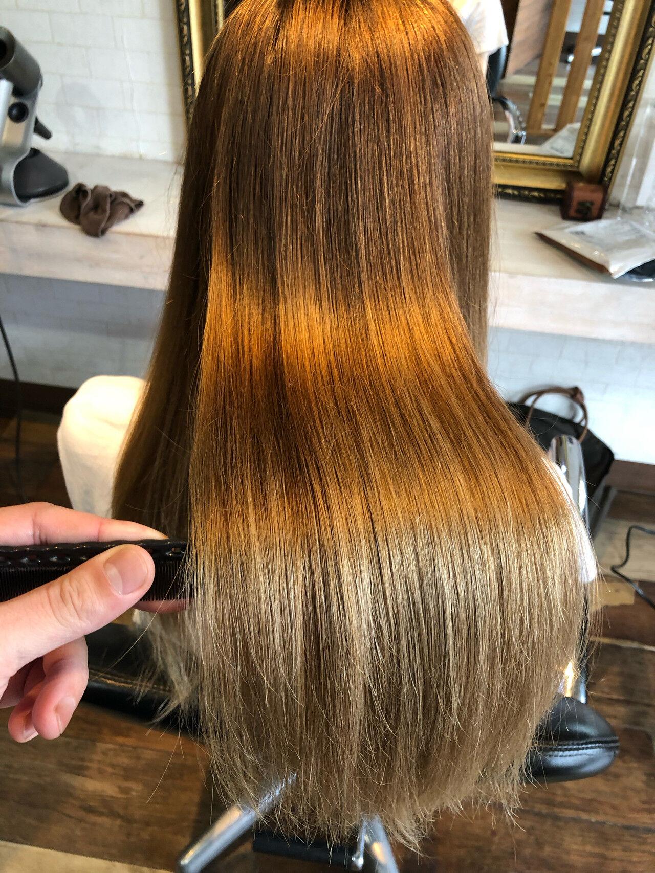 ロング 髪質改善 髪質改善トリートメント 縮毛矯正ヘアスタイルや髪型の写真・画像