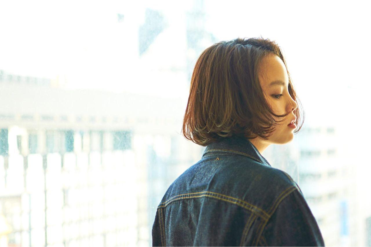 ウェーブ モード 秋 ボブヘアスタイルや髪型の写真・画像