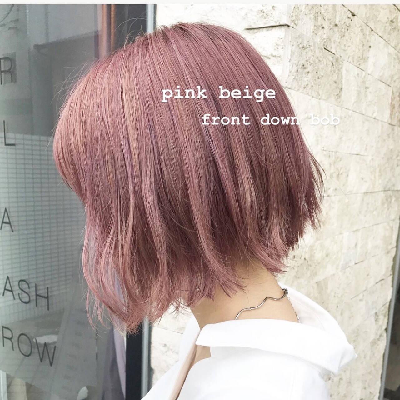 ピンクブラウン モテボブ ガーリー ピンクヘアスタイルや髪型の写真・画像