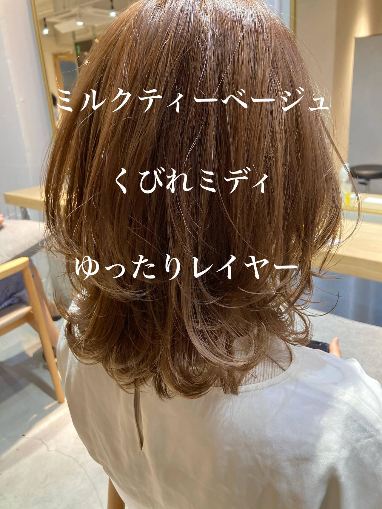 アンニュイほつれヘア ミディアムレイヤー デジタルパーマ ナチュラルヘアスタイルや髪型の写真・画像