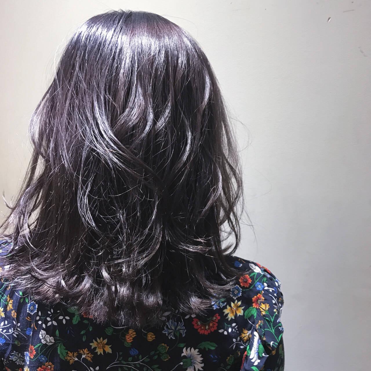 パープル ボブ ガーリー ミディアムヘアスタイルや髪型の写真・画像