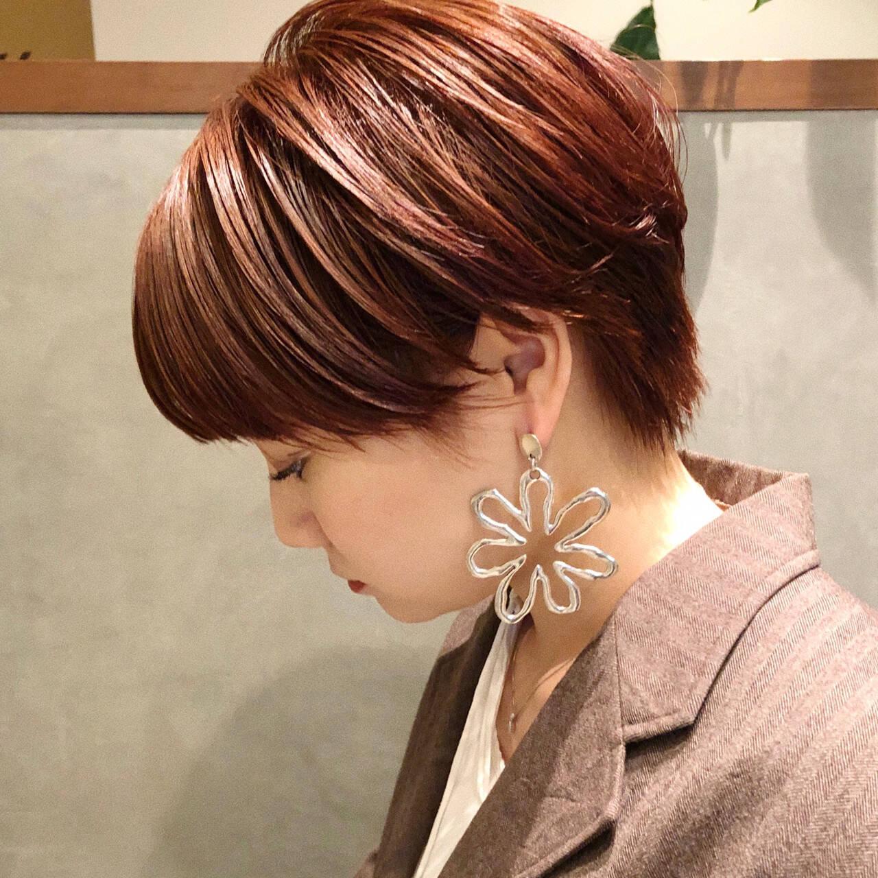 アプリコットオレンジ ベリーショート ショート ガーリーヘアスタイルや髪型の写真・画像