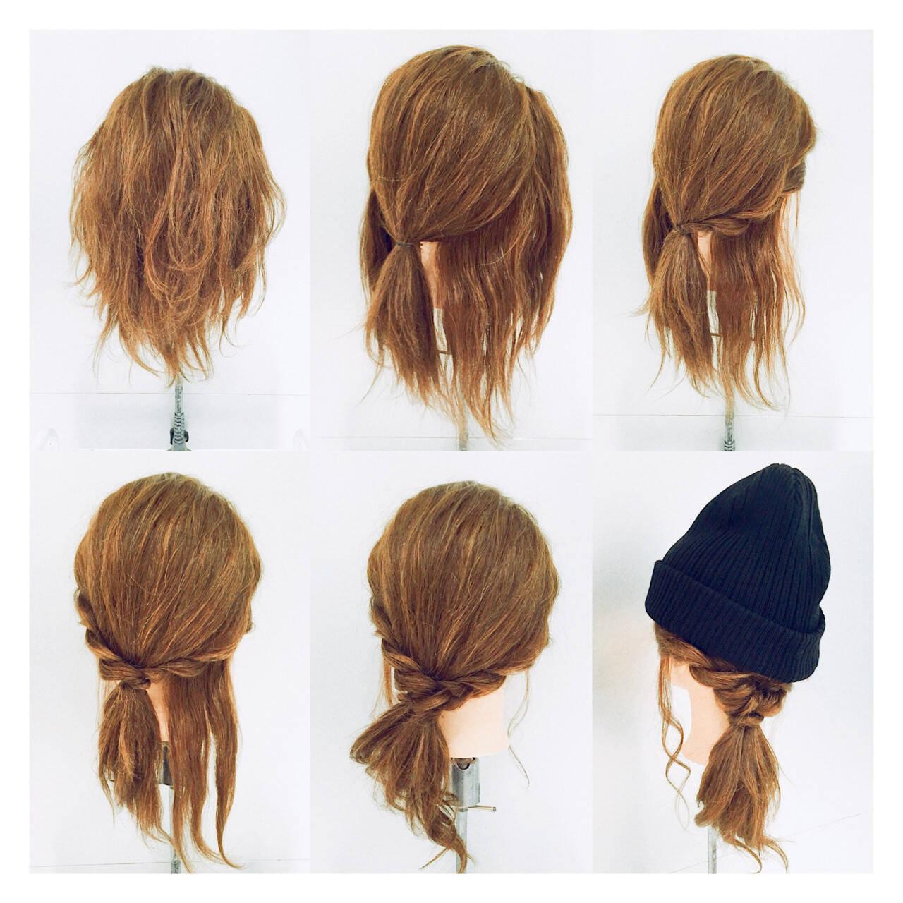 ミディアム 簡単ヘアアレンジ ショート ヘアアレンジヘアスタイルや髪型の写真・画像