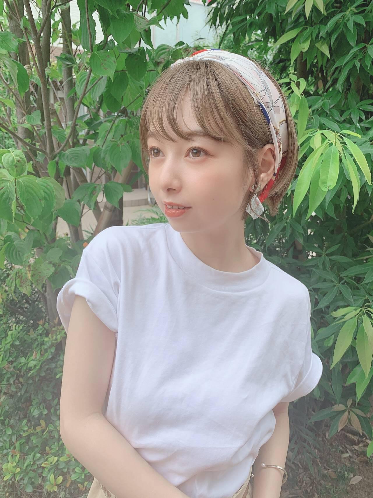 スカーフアレンジ ショート セルフヘアアレンジ 簡単ヘアアレンジヘアスタイルや髪型の写真・画像