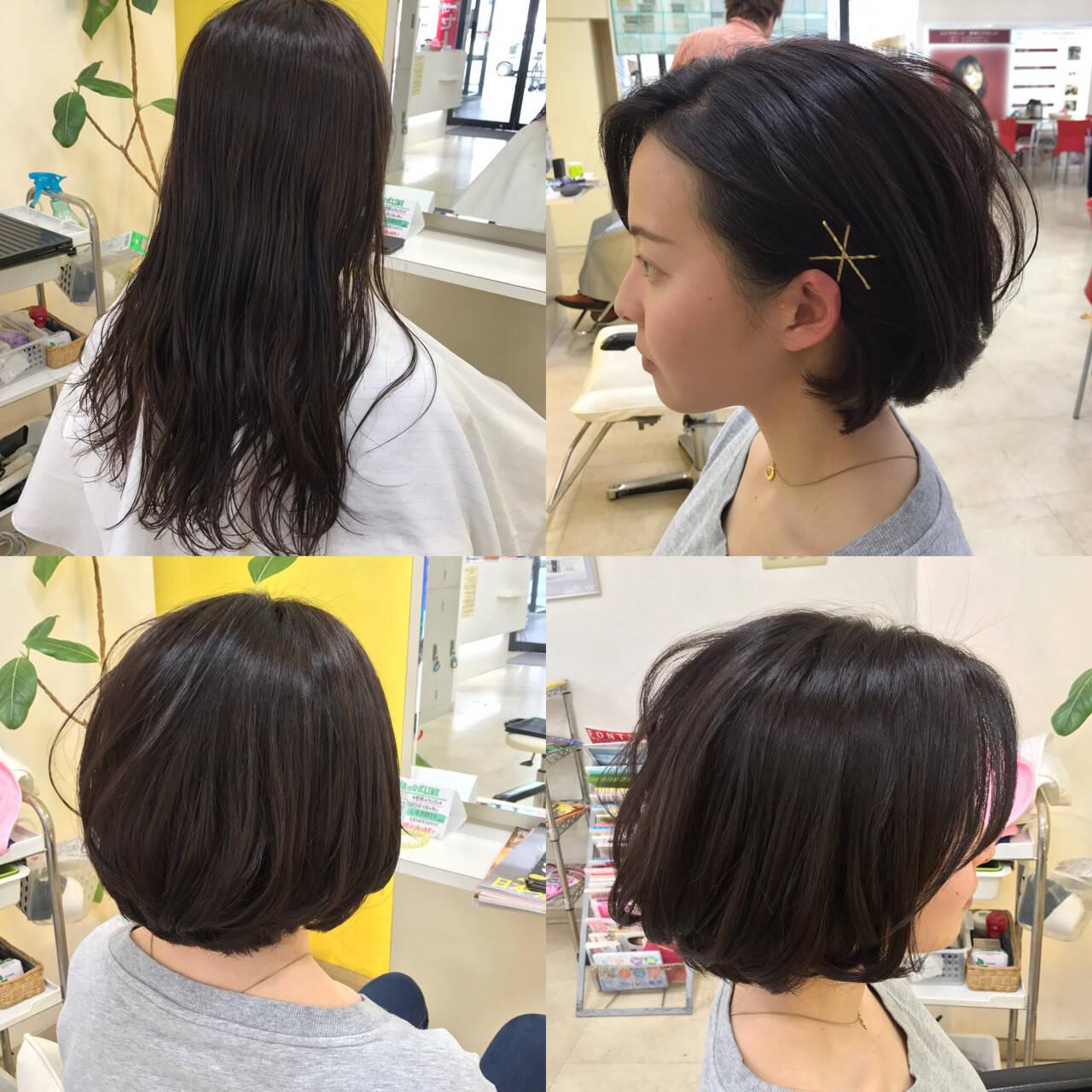 ボブ ナチュラル ヘアアクセ 簡単ヘアアレンジヘアスタイルや髪型の写真・画像