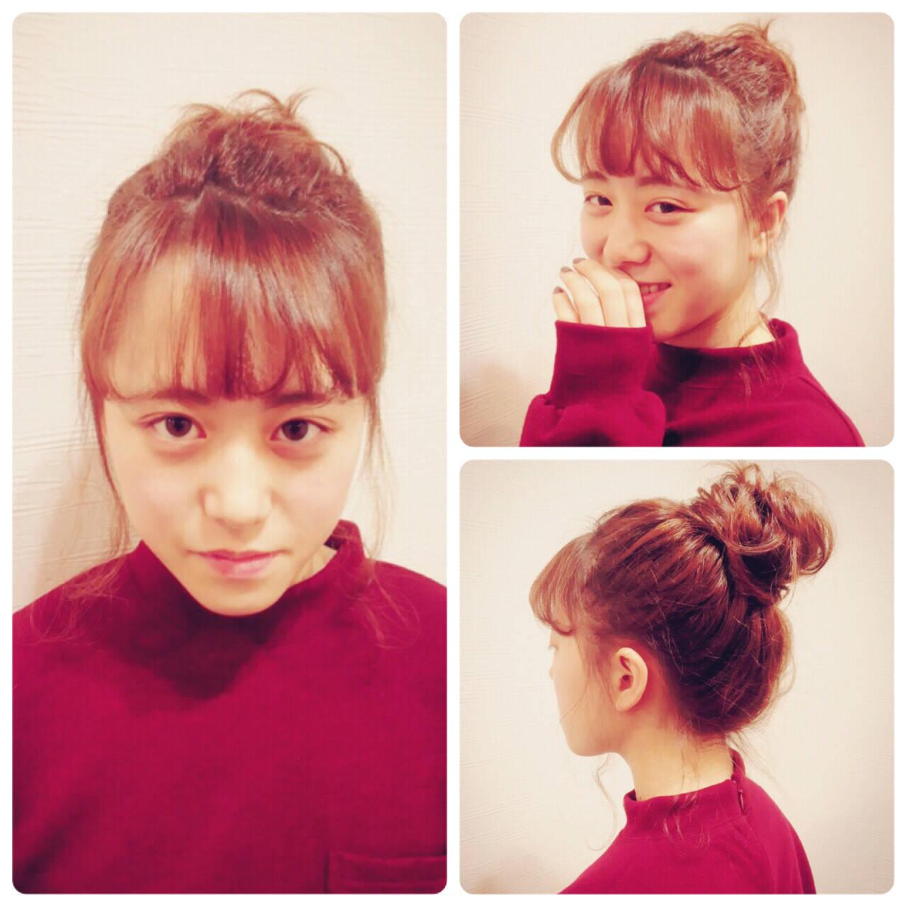 ミディアム お団子 簡単ヘアアレンジ フェミニンヘアスタイルや髪型の写真・画像