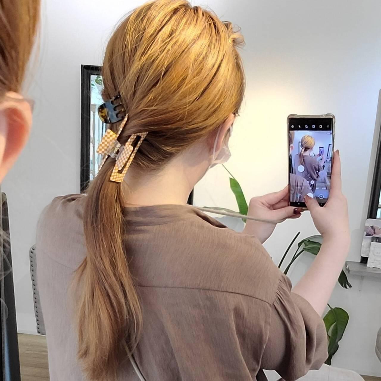 ヘアアレンジ セルフヘアアレンジ 簡単ヘアアレンジ ロングヘアスタイルや髪型の写真・画像
