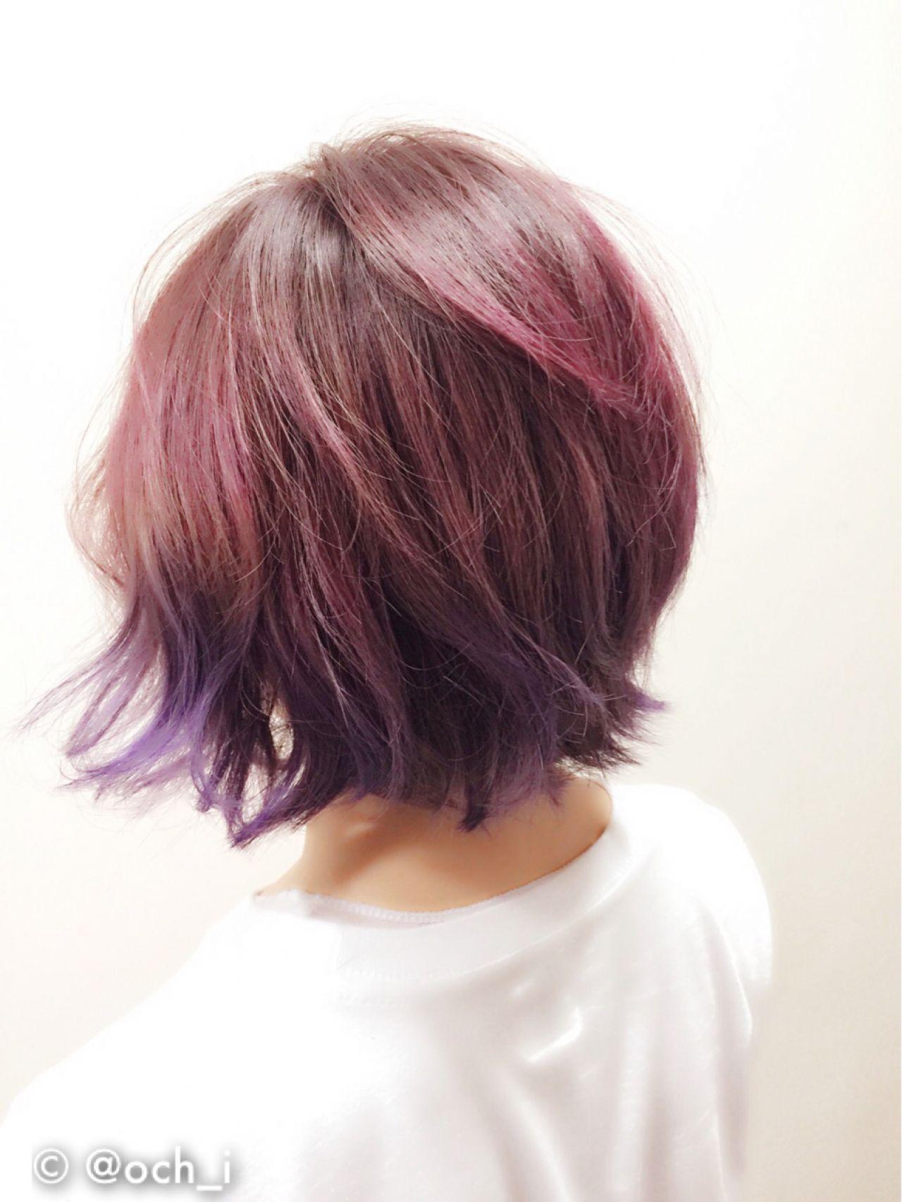 ピンク 春 カラートリートメント レッドヘアスタイルや髪型の写真・画像