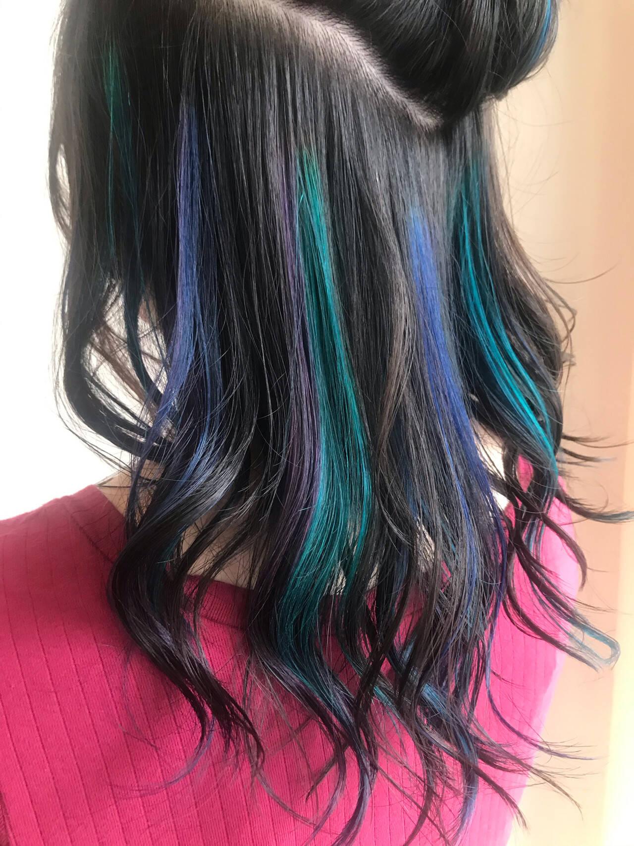 ストリート 個性的 ユニコーンカラー ユニコーンヘアスタイルや髪型の写真・画像
