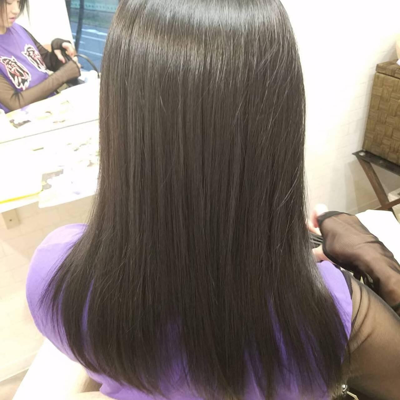 モード ロング 縮毛矯正 縮毛矯正ストカールヘアスタイルや髪型の写真・画像