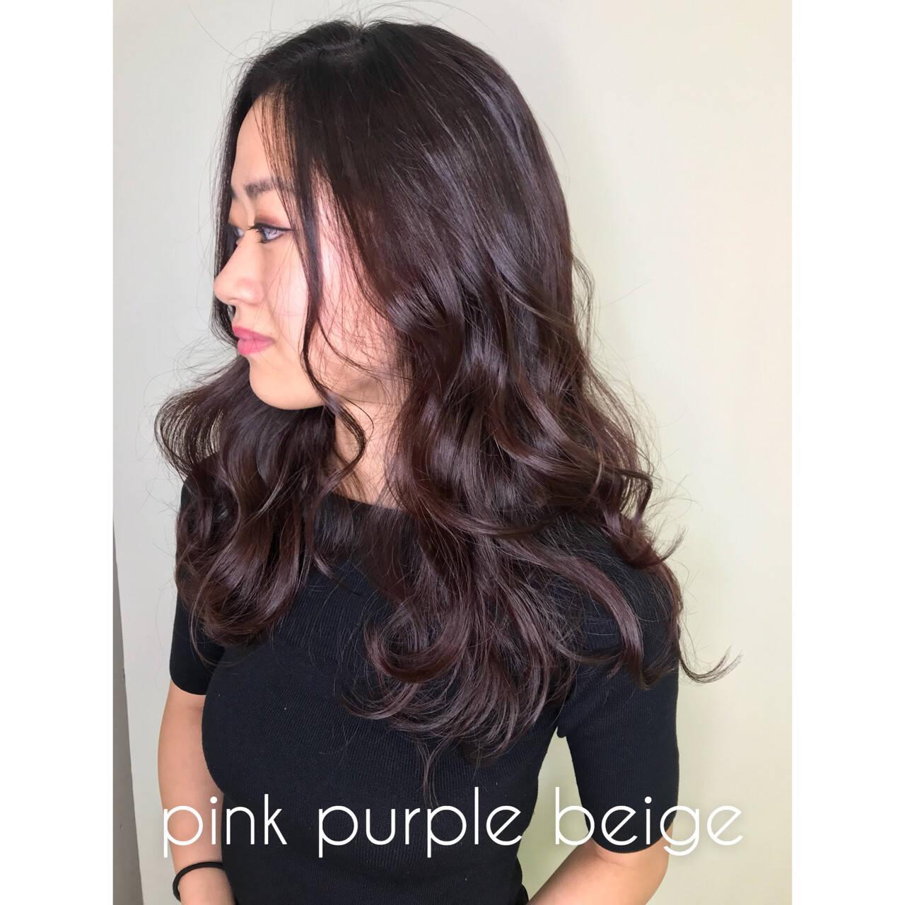 透明感 ナチュラル セミロング ピンクヘアスタイルや髪型の写真・画像