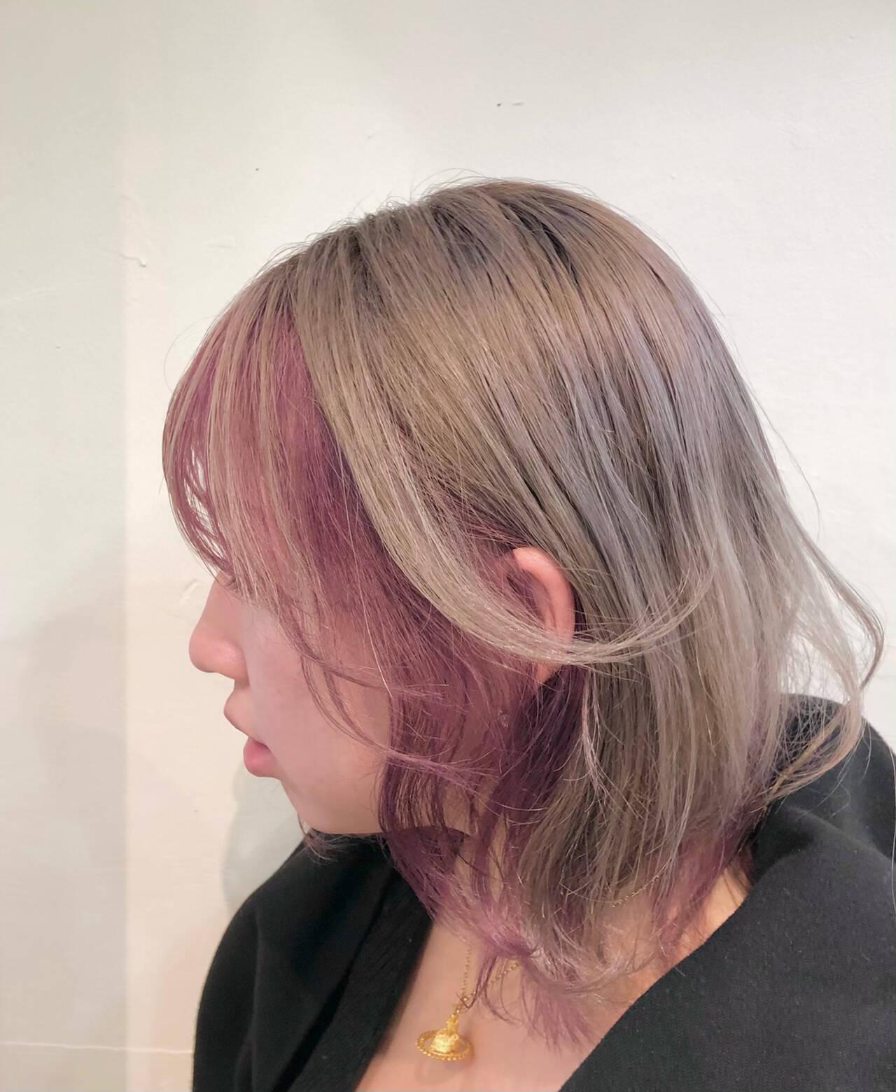 ナチュラル ボブ バレイヤージュ ハイトーンカラーヘアスタイルや髪型の写真・画像