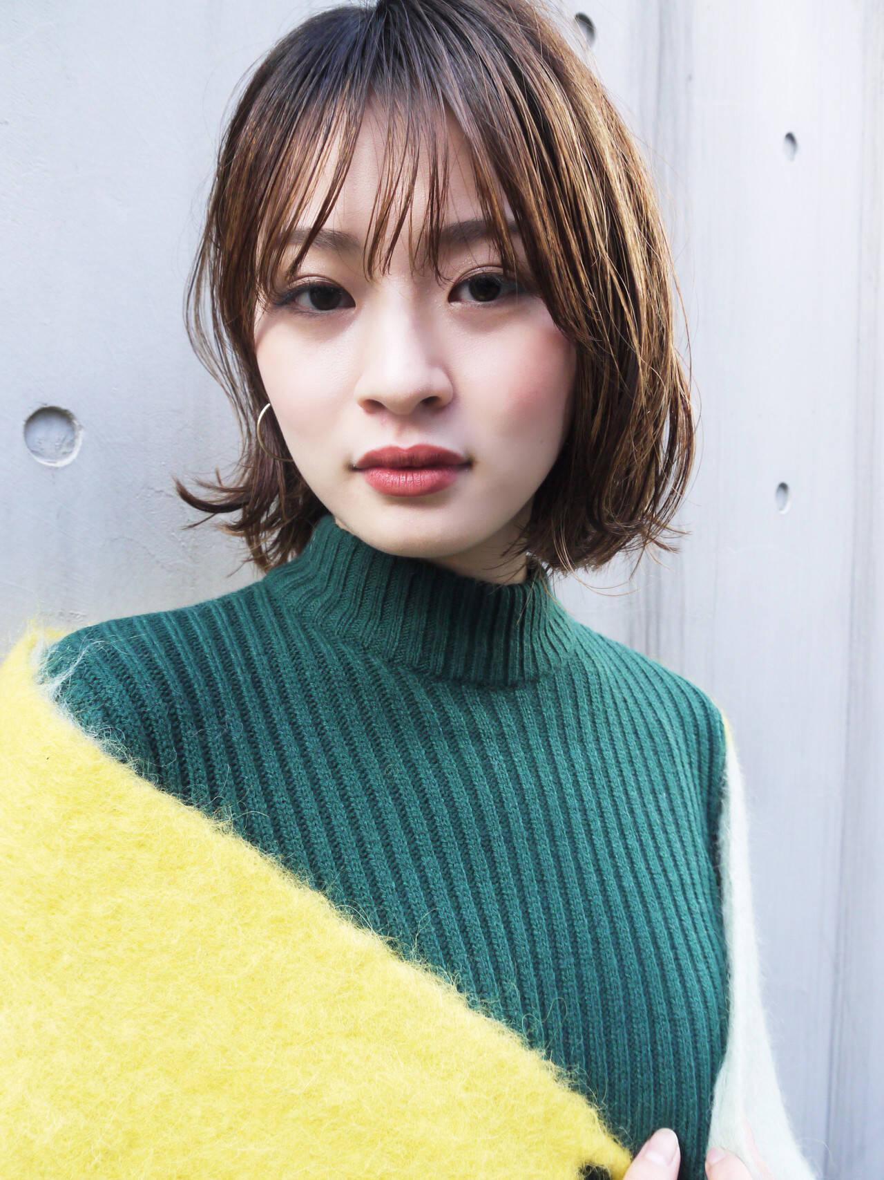 大人かわいい シースルーバング オフィス 大人女子ヘアスタイルや髪型の写真・画像