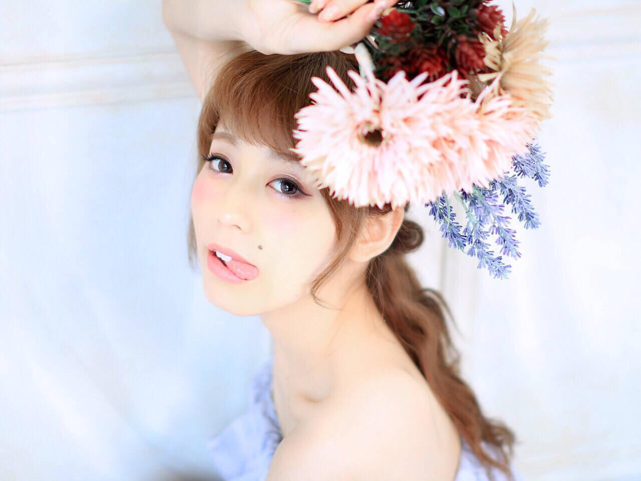 大人かわいい セミロング ゆるふわ フェミニンヘアスタイルや髪型の写真・画像