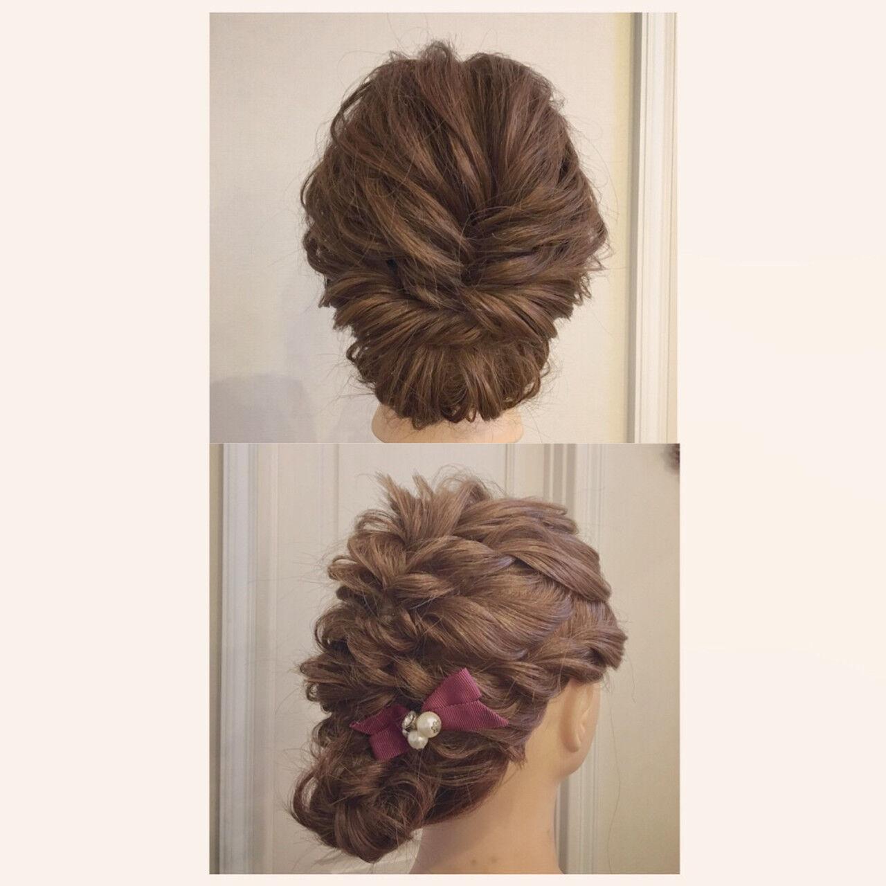 お呼ばれヘア 成人式 セミロング シニヨンヘアスタイルや髪型の写真・画像