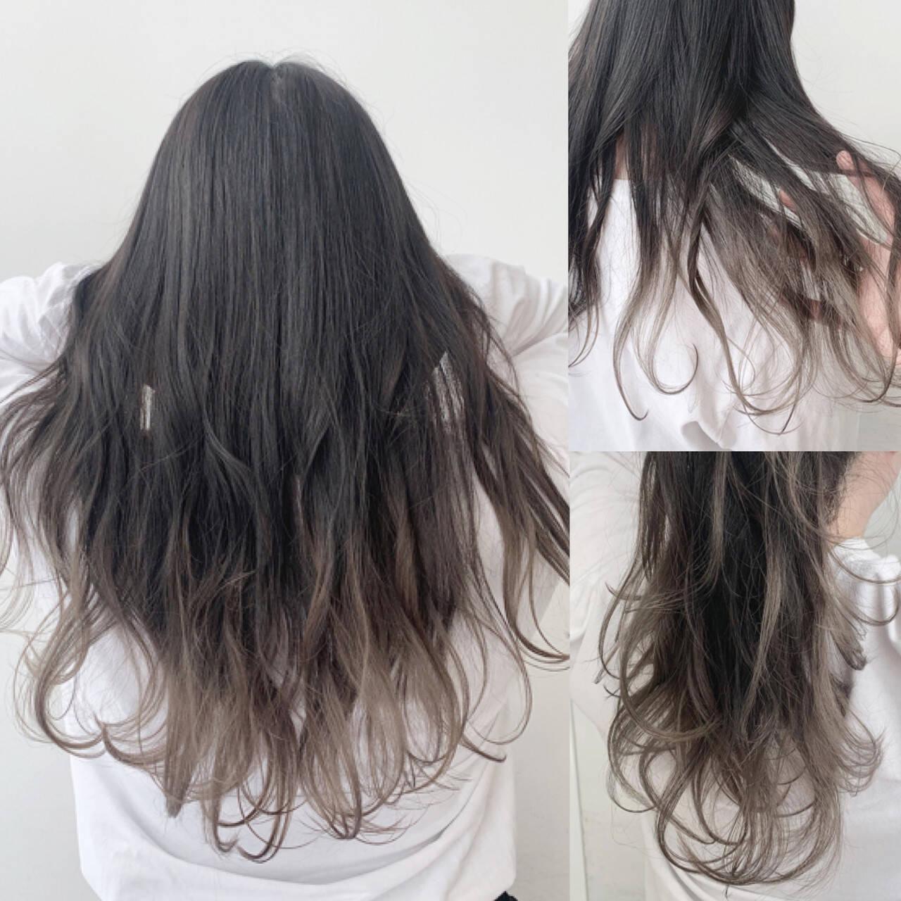 ロング ミルクティーグレージュ ナチュラル グラデーションカラーヘアスタイルや髪型の写真・画像