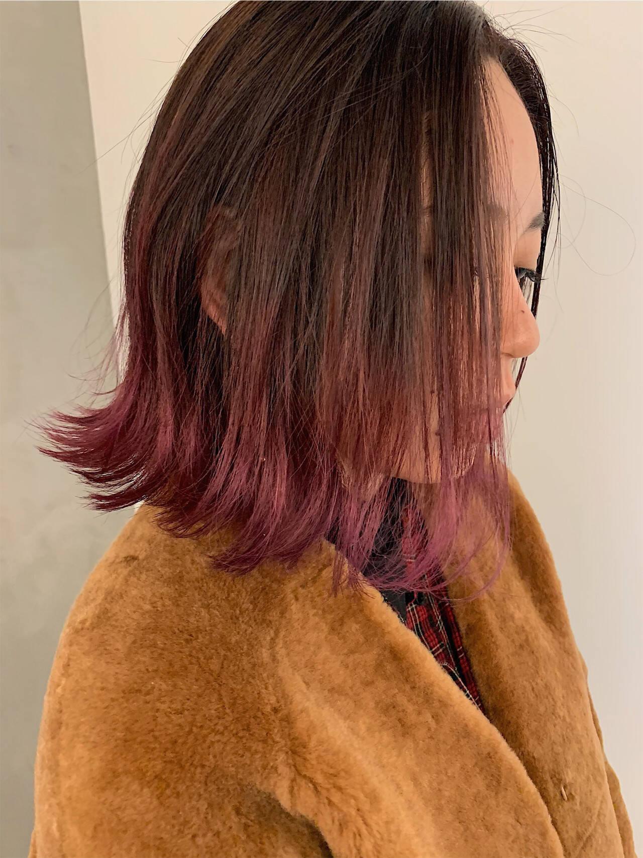 アンニュイほつれヘア ボブ ストリート グラデーションカラーヘアスタイルや髪型の写真・画像