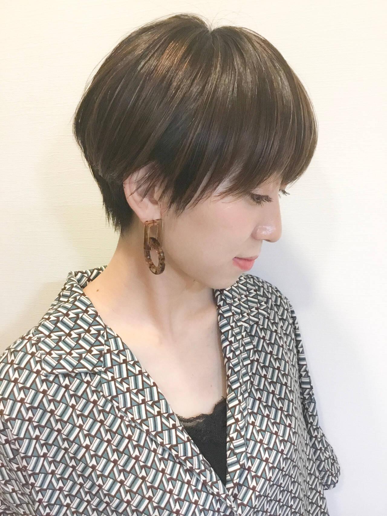 前髪 ハンサムショート マッシュショート ナチュラルヘアスタイルや髪型の写真・画像