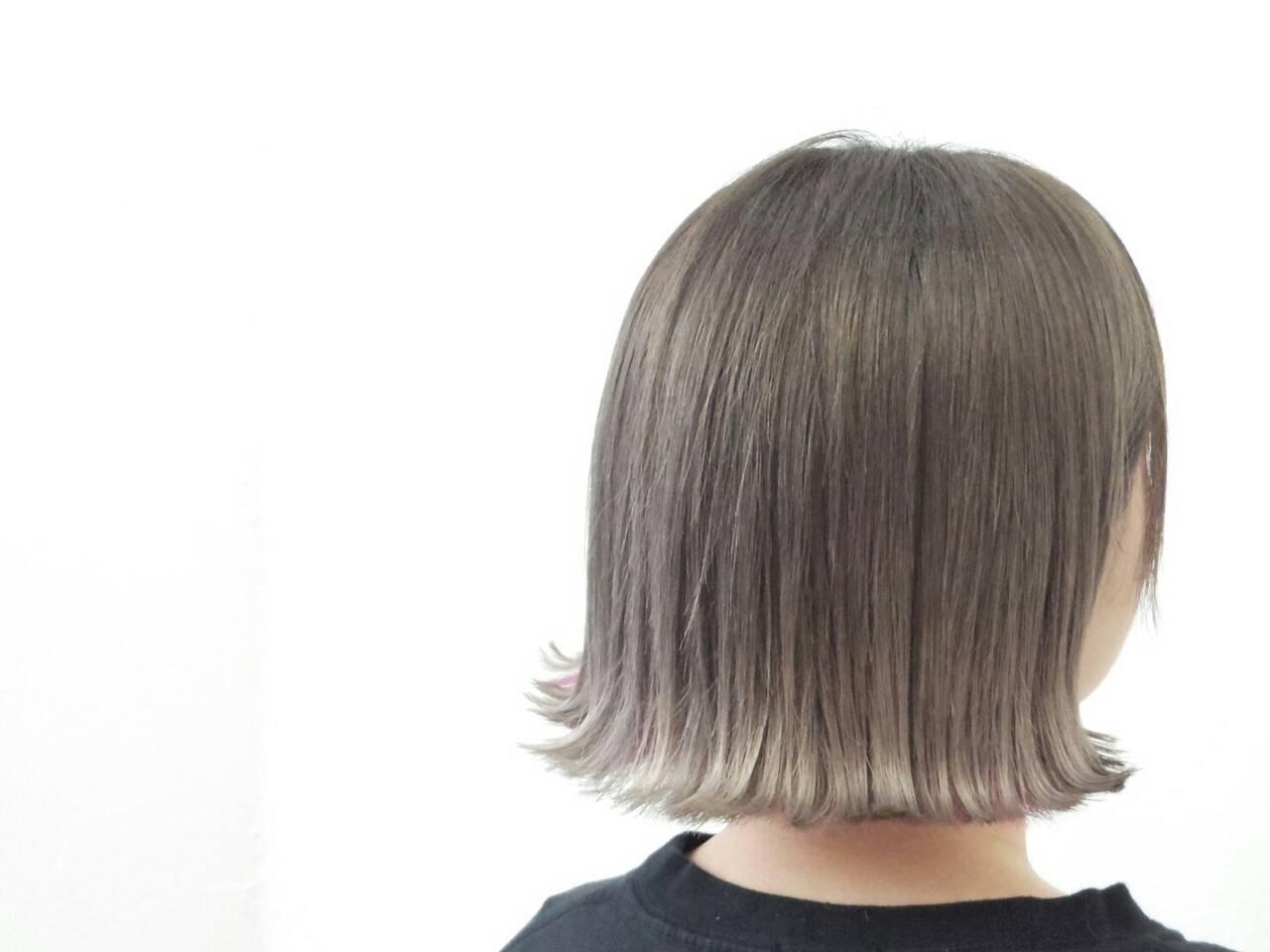 ストリート グレージュ ボブ 透明感ヘアスタイルや髪型の写真・画像