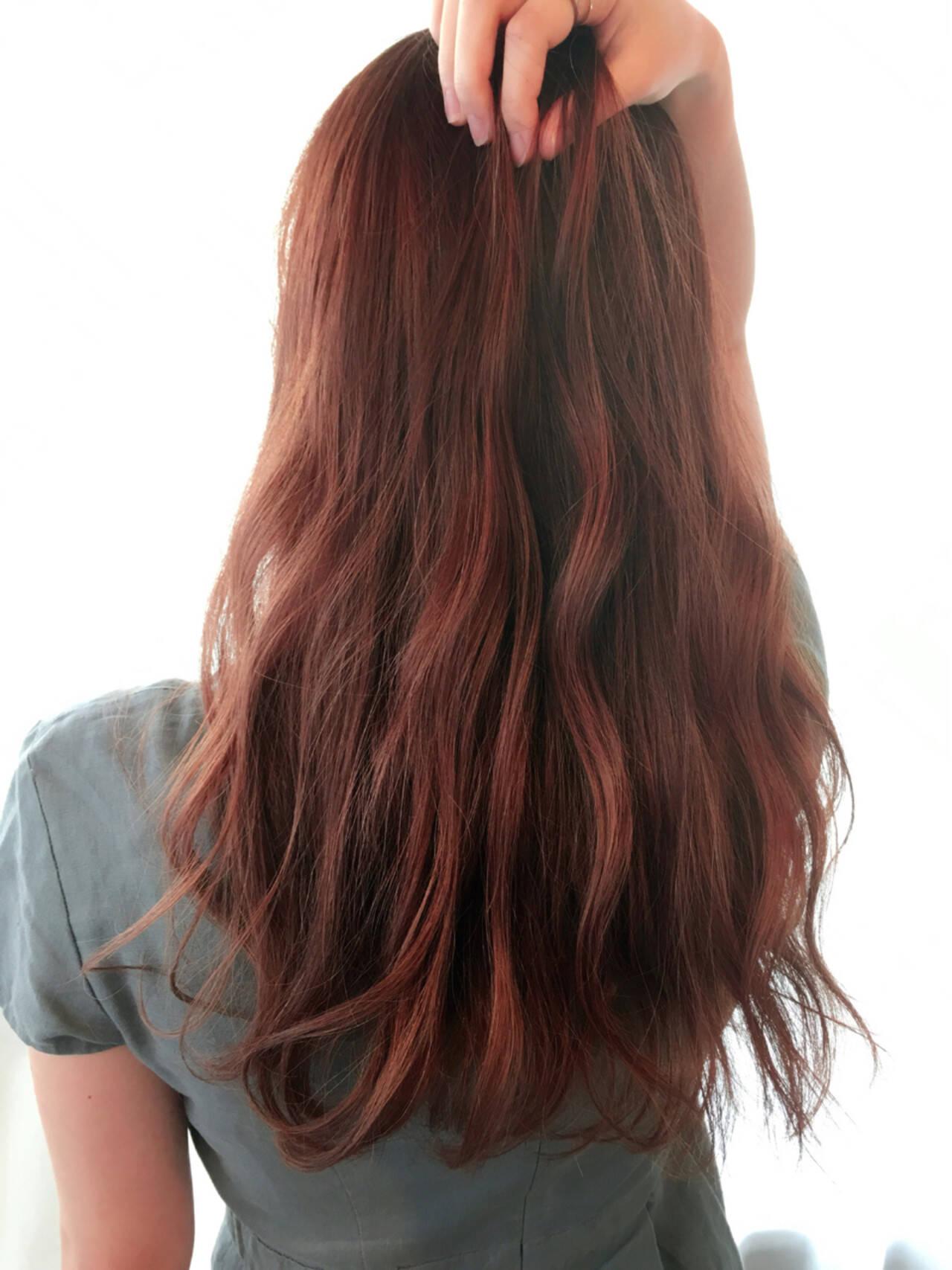 オレンジブラウン ハイライト ゆるふわ ガーリーヘアスタイルや髪型の写真・画像