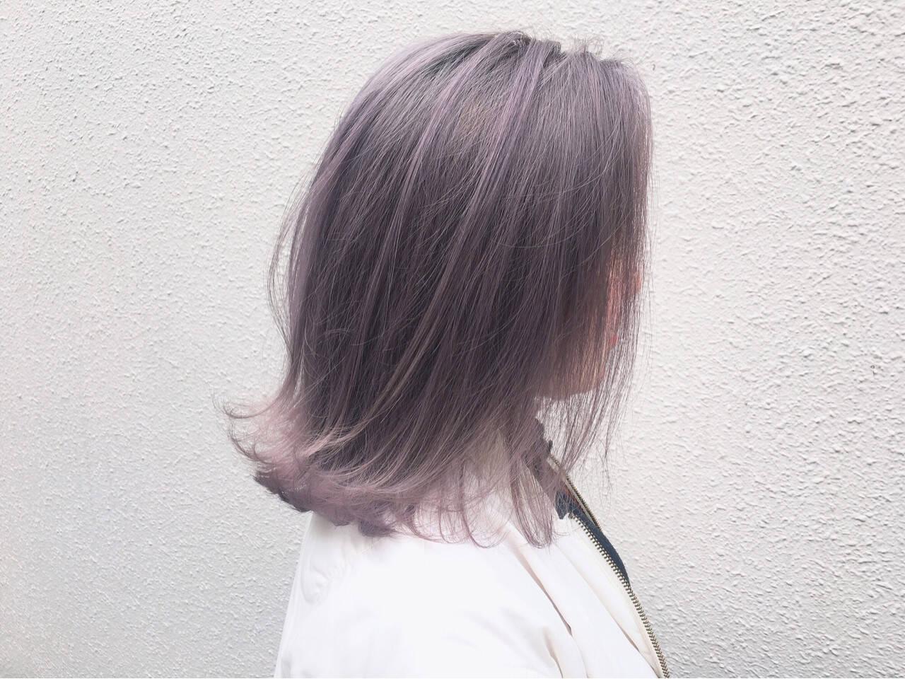 グレージュ 外国人風カラー ミディアム ストリートヘアスタイルや髪型の写真・画像