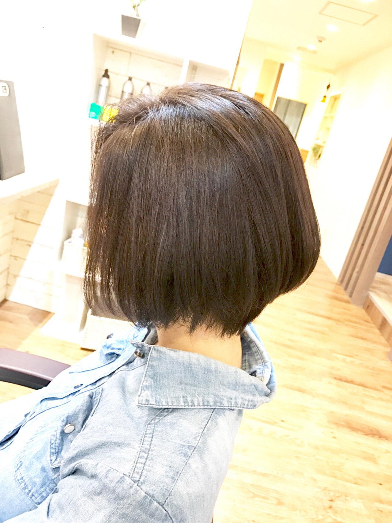 ナチュラル 黒髪 ショートボブ 似合わせヘアスタイルや髪型の写真・画像