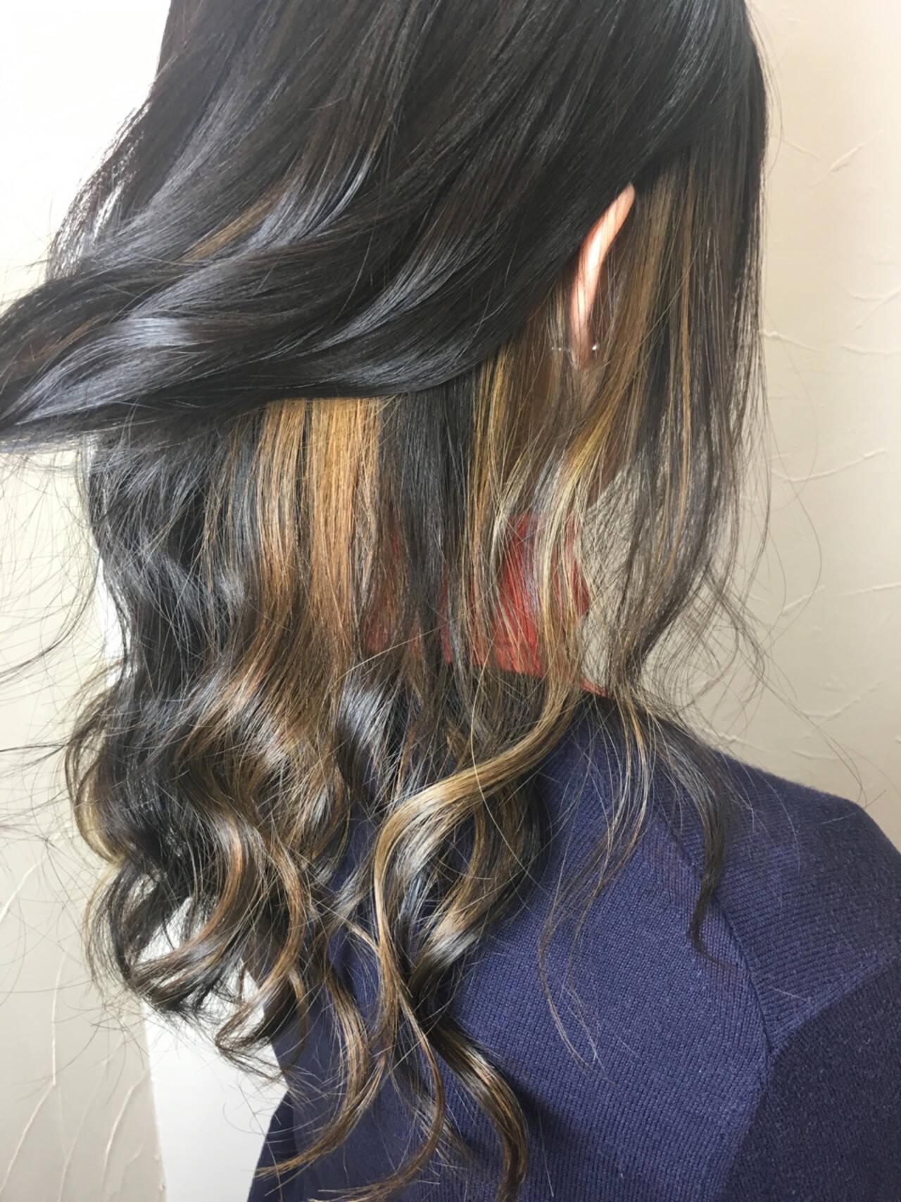 ダブルカラー ストリート ハイライト インナーカラーヘアスタイルや髪型の写真・画像