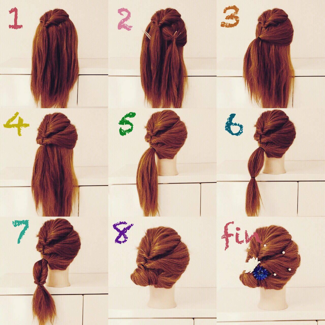 夏 簡単ヘアアレンジ ガーリー くるりんぱヘアスタイルや髪型の写真・画像