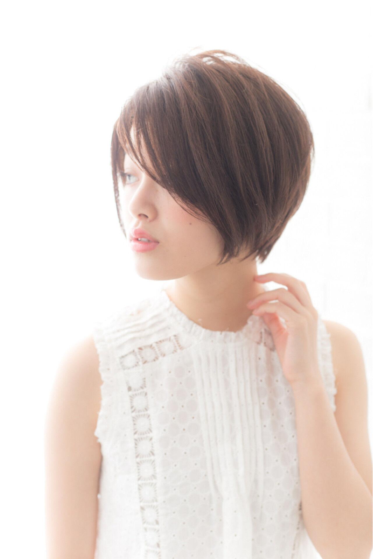 前髪あり 大人かわいい 暗髪 ショートボブヘアスタイルや髪型の写真・画像