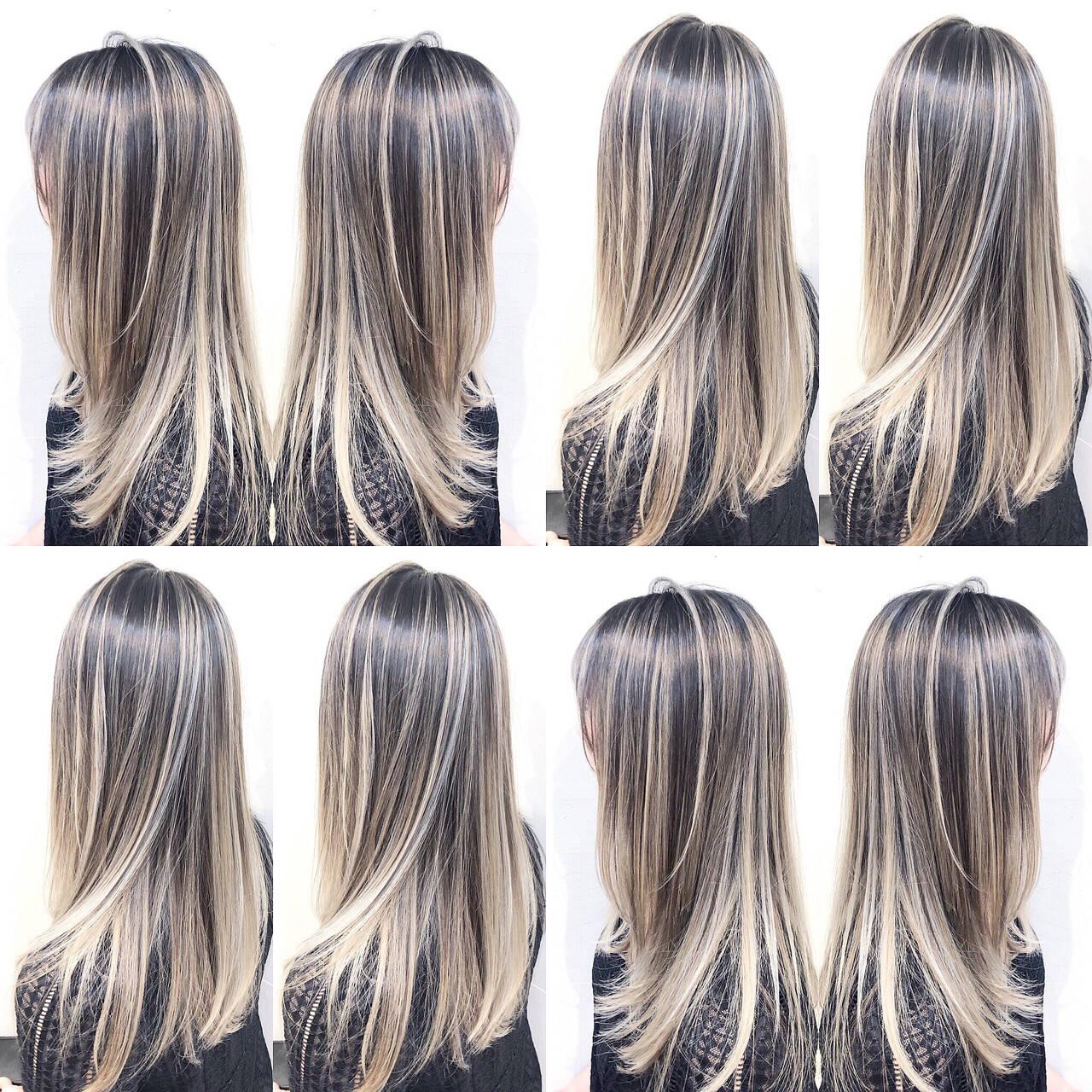グラデーションカラー ナチュラル ユニコーンカラー ハイライトヘアスタイルや髪型の写真・画像