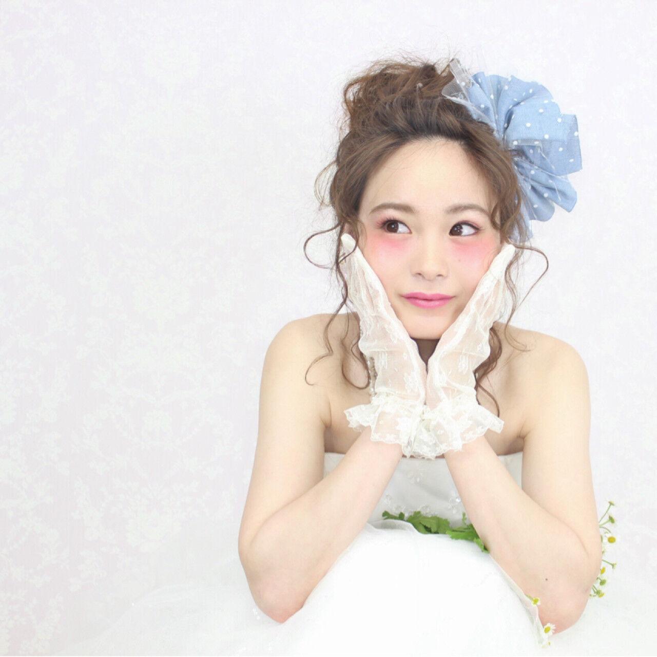 ブライダル ミディアム フェミニン 結婚式ヘアスタイルや髪型の写真・画像