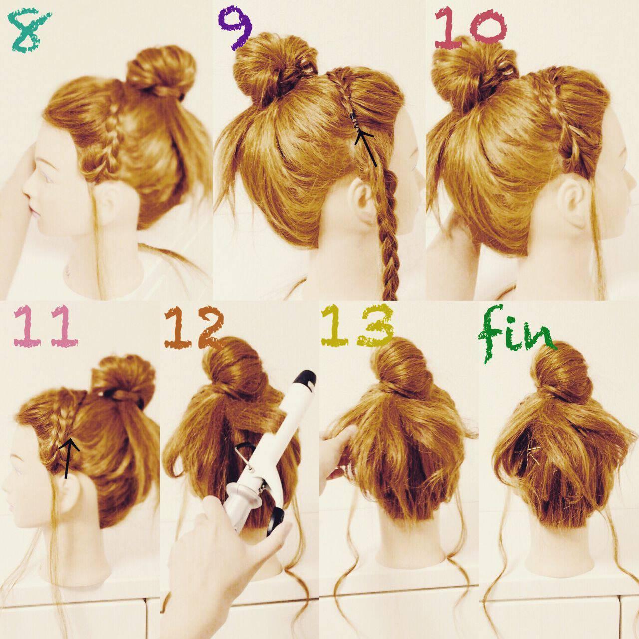 三つ編み ヘアアレンジ お団子 ショートヘアスタイルや髪型の写真・画像