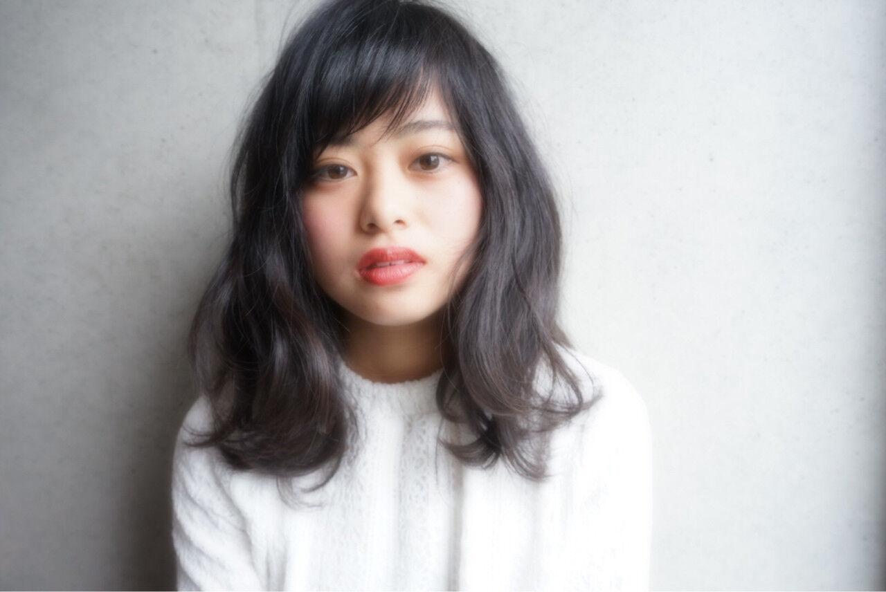 ナチュラル デート モテ髪 黒髪ヘアスタイルや髪型の写真・画像