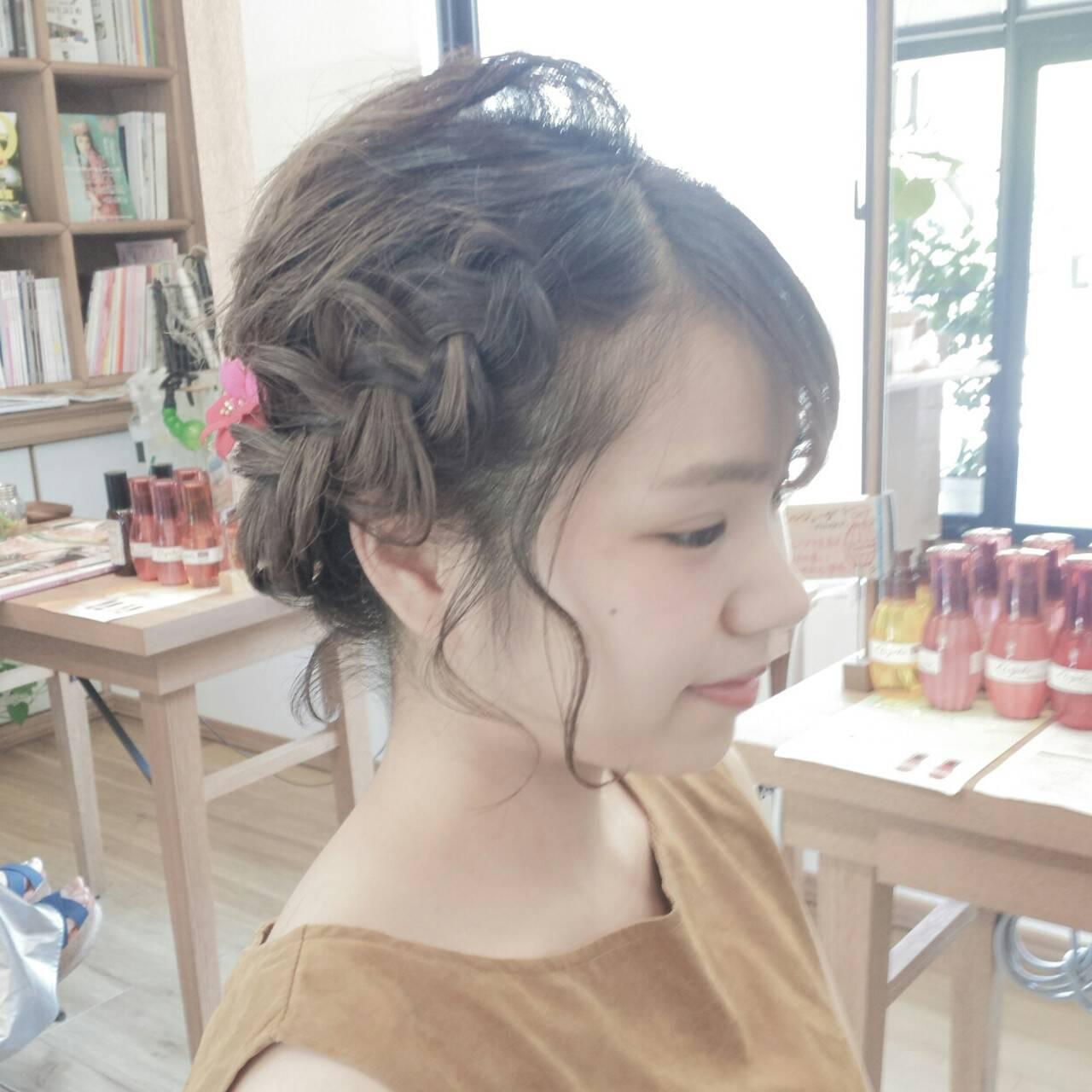 夏 花火大会 和装 ヘアアレンジヘアスタイルや髪型の写真・画像