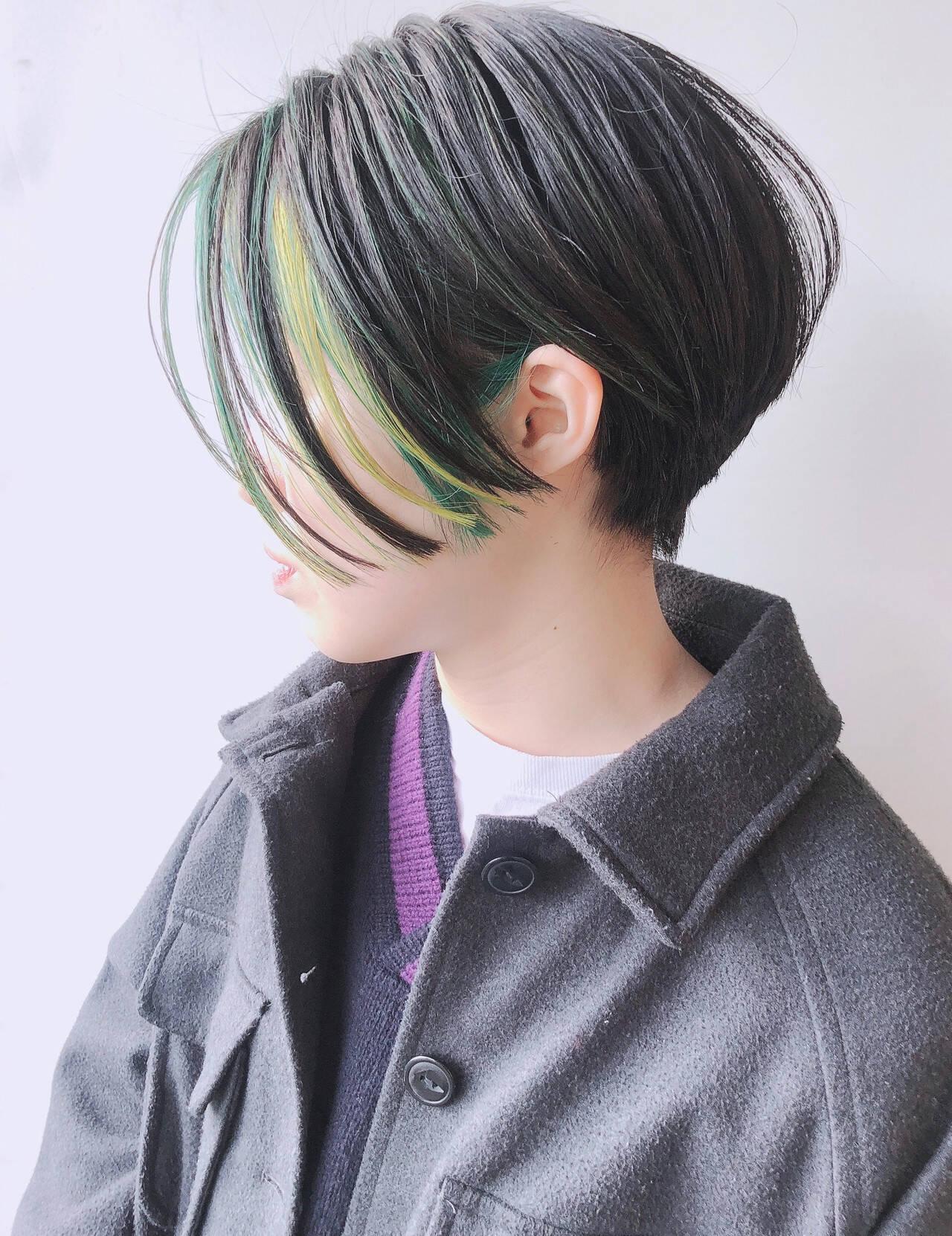 ショート モード インナーカラー ハンサムショートヘアスタイルや髪型の写真・画像
