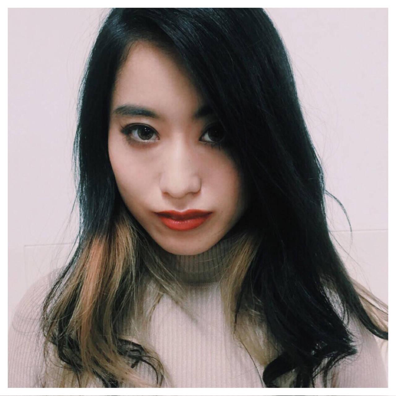 インナーカラー 外国人風 ロング モードヘアスタイルや髪型の写真・画像