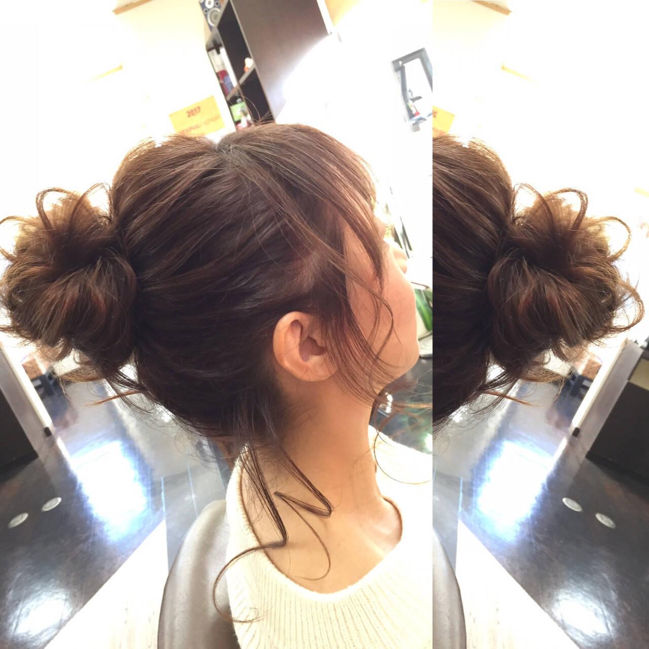ショート 簡単ヘアアレンジ フェミニン セミロングヘアスタイルや髪型の写真・画像