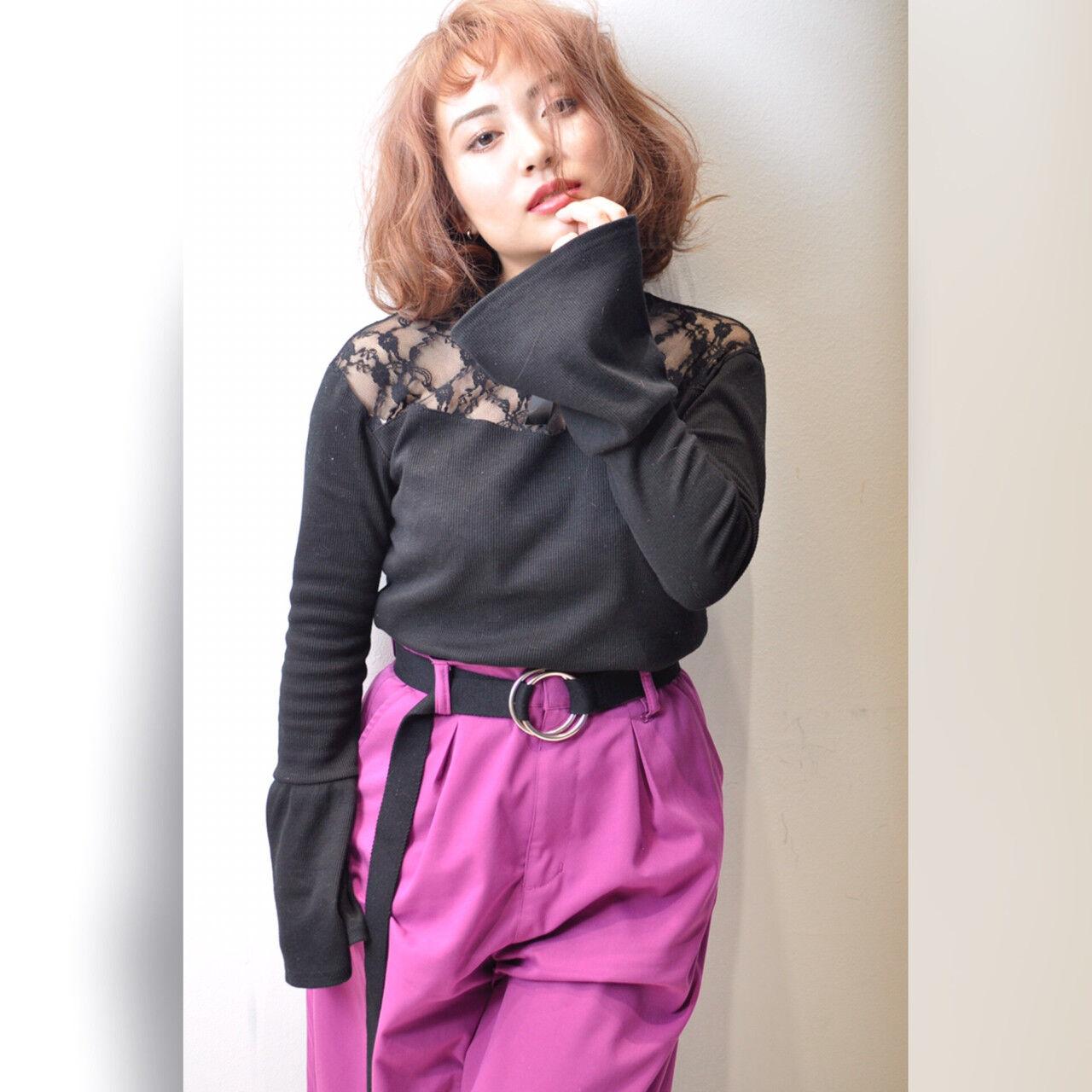 ストリート パープル ピンク レッドヘアスタイルや髪型の写真・画像